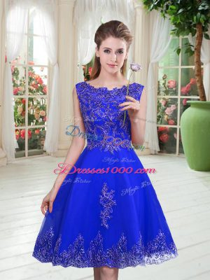 Royal Blue A-line Beading and Appliques Prom Dresses Lace Up Tulle Sleeveless Knee Length