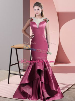 Scoop Sleeveless Satin Evening Dress Beading and Appliques Sweep Train Side Zipper