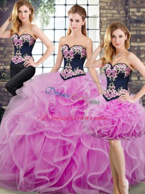 On Sale Lilac Ball Gowns Sweetheart Sleeveless Tulle Sweep Train Lace Up Beading and Embroidery and Ruffles Ball Gown Prom Dress