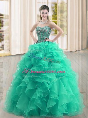 Inexpensive Floor Length Lace Up Sweet 16 Quinceanera Dress Turquoise for Military Ball and Sweet 16 and Quinceanera with Beading and Ruffles