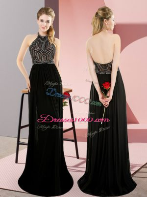 Best Selling Black Sleeveless Sweep Train Beading Homecoming Dress