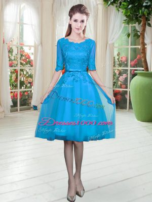 Dramatic Blue Lace Up Lace Half Sleeves Knee Length