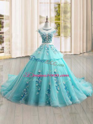Suitable Cap Sleeves Appliques Lace Up Sweet 16 Dress with Aqua Blue Brush Train
