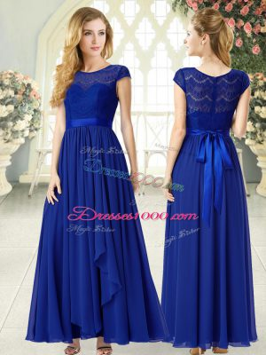 Vintage Chiffon Scoop Cap Sleeves Zipper Lace Party Dress Wholesale in Royal Blue