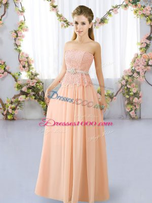 Graceful Peach Empire Lace and Belt Vestidos de Damas Lace Up Chiffon Sleeveless Floor Length