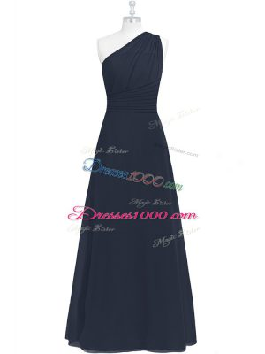 Black Chiffon Side Zipper Prom Evening Gown Sleeveless Floor Length Ruching