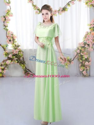 Empire Dama Dress for Quinceanera Scoop Chiffon Short Sleeves Floor Length Zipper