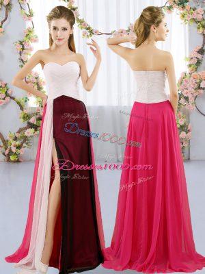 Charming Multi-color Empire Sweetheart Sleeveless Chiffon Floor Length Zipper Ruching Wedding Guest Dresses