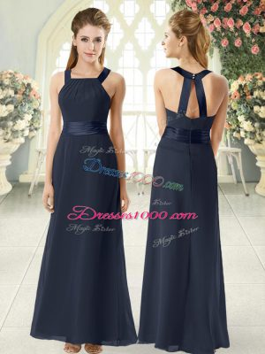 Elegant Empire Prom Party Dress Black Square Chiffon Sleeveless Floor Length Zipper