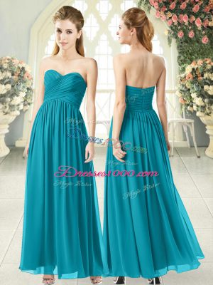 Wonderful Ankle Length Zipper Prom Party Dress Teal for Prom and Party with Ruching