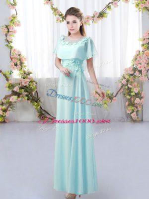 Aqua Blue Zipper Dama Dress for Quinceanera Appliques Short Sleeves Floor Length