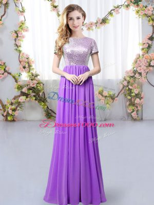 Purple Zipper Scoop Sequins Damas Dress Chiffon Short Sleeves
