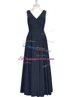 Stunning Black Chiffon Zipper Sleeveless Floor Length Ruching