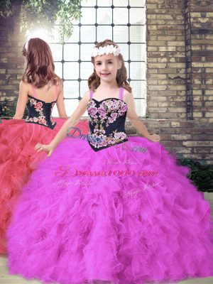 Beauteous Straps Sleeveless Pageant Dress Womens Floor Length Embroidery and Ruffles Fuchsia Tulle