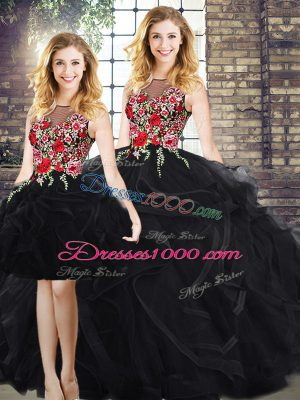 Scoop Sleeveless Zipper Embroidery and Ruffles Quinceanera Gown in Black