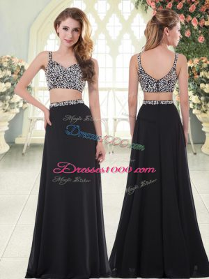Black Straps Zipper Beading Prom Dresses Sleeveless