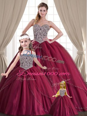 Sleeveless Tulle Floor Length Lace Up Sweet 16 Dresses in Red with Beading