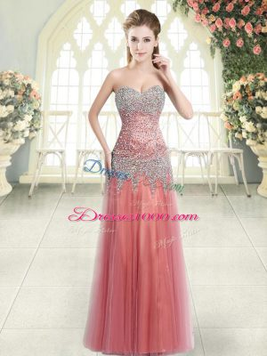 Tulle Sweetheart Sleeveless Zipper Beading Prom Gown in Watermelon Red