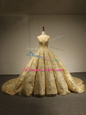 Wonderful Gold Ball Gowns Scoop Sleeveless Sequins Lace Up Sweet 16 Dresses Brush Train