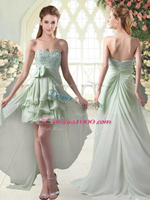 Apple Green A-line Sweetheart Sleeveless Chiffon High Low Zipper Beading and Ruffled Layers Prom Evening Gown