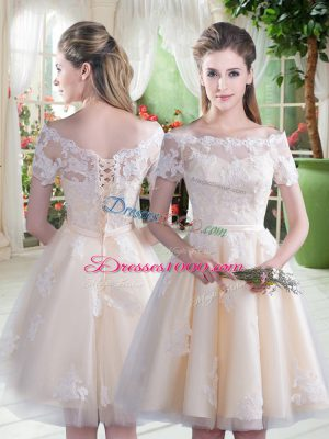 Custom Design Champagne Off The Shoulder Neckline Lace Party Dress for Girls Short Sleeves Lace Up