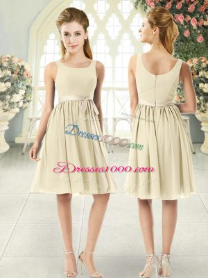 Fancy Knee Length Zipper Light Yellow for Prom and Party with Ruching