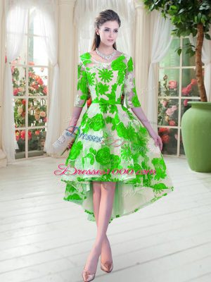 Green Lace Lace Up Prom Evening Gown Half Sleeves High Low Belt