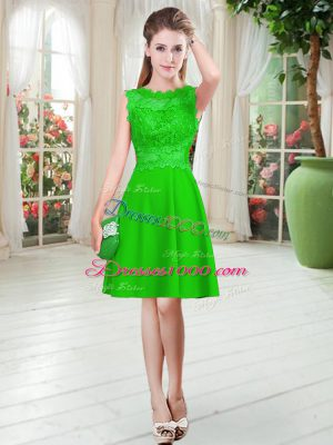 Empire Dress for Prom Green Scalloped Satin Sleeveless Knee Length Zipper