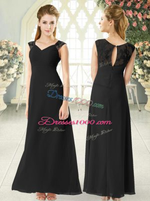 Super Lace Prom Evening Gown Black Zipper Sleeveless Ankle Length