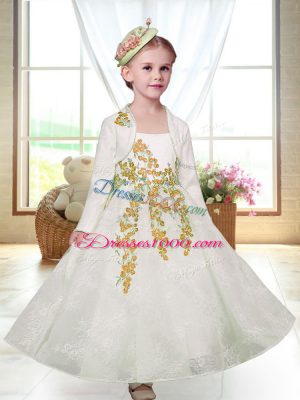 White Zipper Flower Girl Dress Embroidery Sleeveless Ankle Length