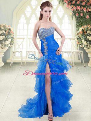 Blue Mermaid Sweetheart Sleeveless Organza Sweep Train Lace Up Beading and Ruffled Layers