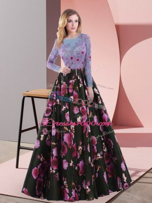 Multi-color Printed Lace Up Scoop Long Sleeves Floor Length Prom Party Dress Embroidery