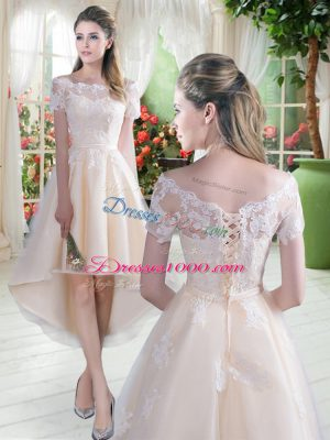 Champagne Lace Up Off The Shoulder Lace Prom Dress Tulle Short Sleeves