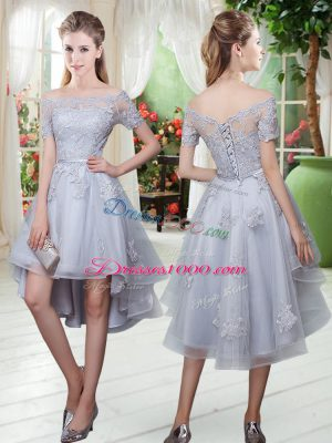 Off The Shoulder Short Sleeves Prom Dresses High Low Appliques Grey Tulle