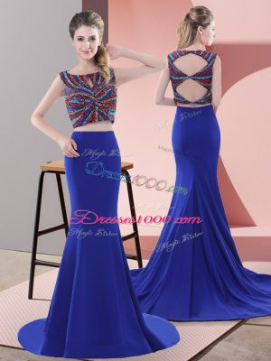 Superior Sleeveless Beading Lace Up Prom Party Dress with Royal Blue Sweep Train