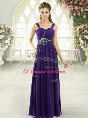 Captivating Purple Chiffon Lace Up Evening Dress Sleeveless Floor Length Beading and Ruching