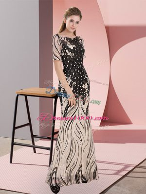 Floor Length Black Dress for Prom Scoop Half Sleeves Zipper