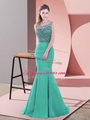 Turquoise Mermaid Beading Party Dress Wholesale Backless Satin Sleeveless