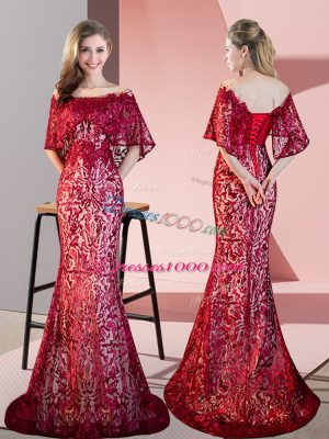 On Sale Red Prom Gown Prom and Party with Lace Off The Shoulder Half Sleeves Sweep Train Lace Up