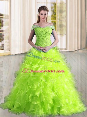 Yellow Green Sleeveless Sweep Train Beading and Lace and Ruffles Quince Ball Gowns