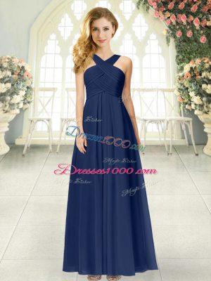 Navy Blue Zipper Straps Ruching Prom Dress Chiffon Sleeveless