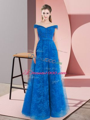 Smart Off The Shoulder Sleeveless Prom Gown Floor Length Beading Blue