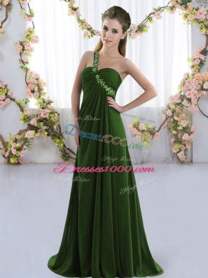 Artistic Olive Green Sleeveless Beading Lace Up Quinceanera Court Dresses