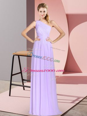 Lavender One Shoulder Neckline Ruching Prom Dress Sleeveless Lace Up