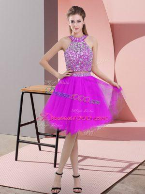 Halter Top Sleeveless Backless Evening Dress Purple Organza