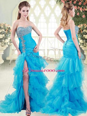 Lace Up Prom Gown Aqua Blue for Prom and Party with Beading and Ruffled Layers Brush Train