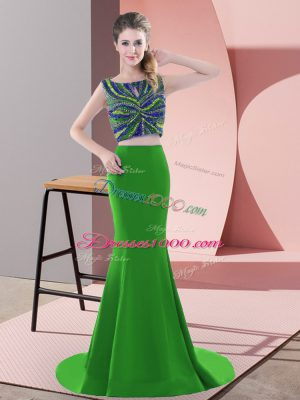 Sumptuous Sleeveless Sweep Train Backless Beading and Pick Ups Prom Party Dress