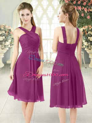 Purple Straps Neckline Ruching Prom Dresses Sleeveless Zipper