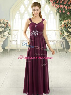 On Sale Burgundy Spaghetti Straps Lace Up Beading and Ruching Sleeveless