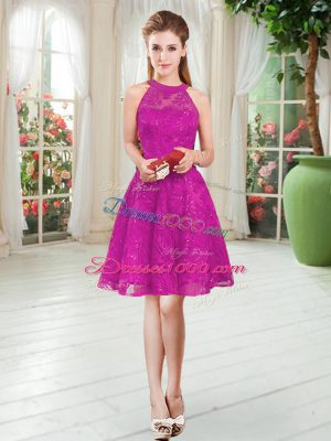 Fuchsia Zipper Party Dress Wholesale Lace Sleeveless Knee Length